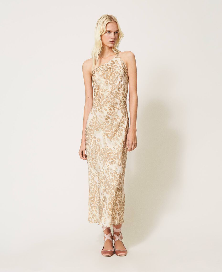 """One-shoulder satin dress with animal print """"Dune"""" Beige Animal Print Woman 202MP243A-02"""
