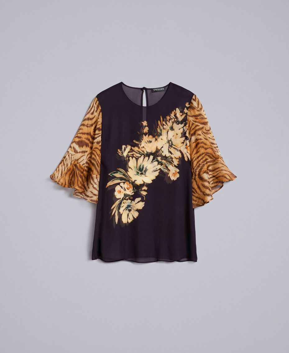 Georgette blouse with mix of prints Flower / Tiger Print Woman TA825D-0S