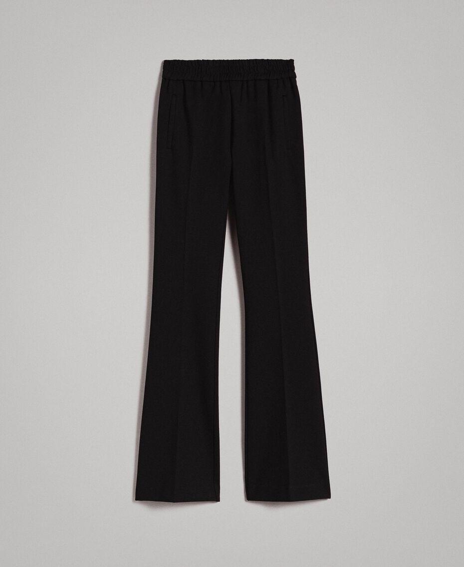 Pantalon évasé au point de Milan Noir Femme 191TP2423-0S