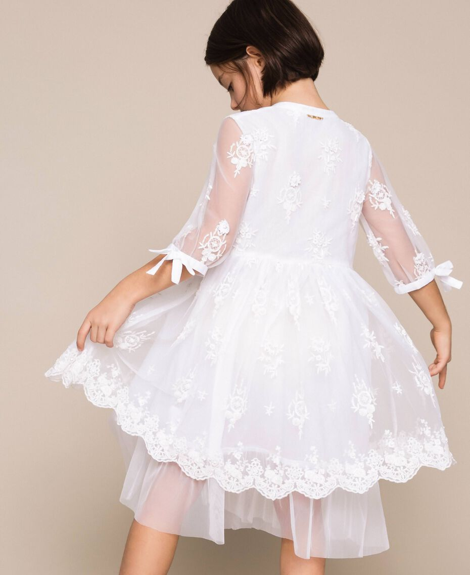 Embroidered tulle dress Off White Child 201GJ2Q60-03