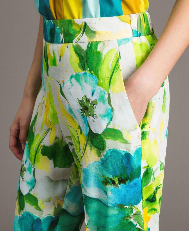 Pantalon en marocaine à imprimé floral Imprimé Jardin Noir Femme 191TT2471-04