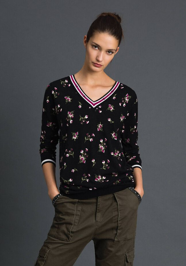 Maxi pull-cardigan floral avec strass