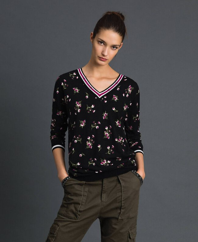 Maxi pull-cardigan floral avec strass Imprimé Petite Fleur Noir Femme 192LL3KSS-01