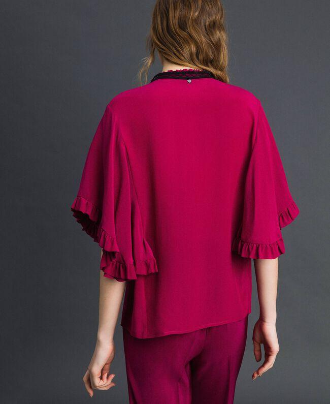 Chemise en crêpe de Chine de soie mélangée Rouge Betterave Femme 192TP2260-03