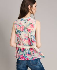 Georgette-Top mit Schleife und Volant Motiv Tuch Weiße Blumen Frau 191MP2332-03