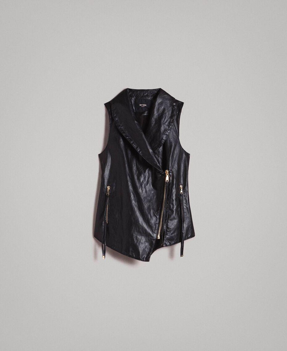 Faux leather zipped waistcoat Black Woman 191MT2280-0S