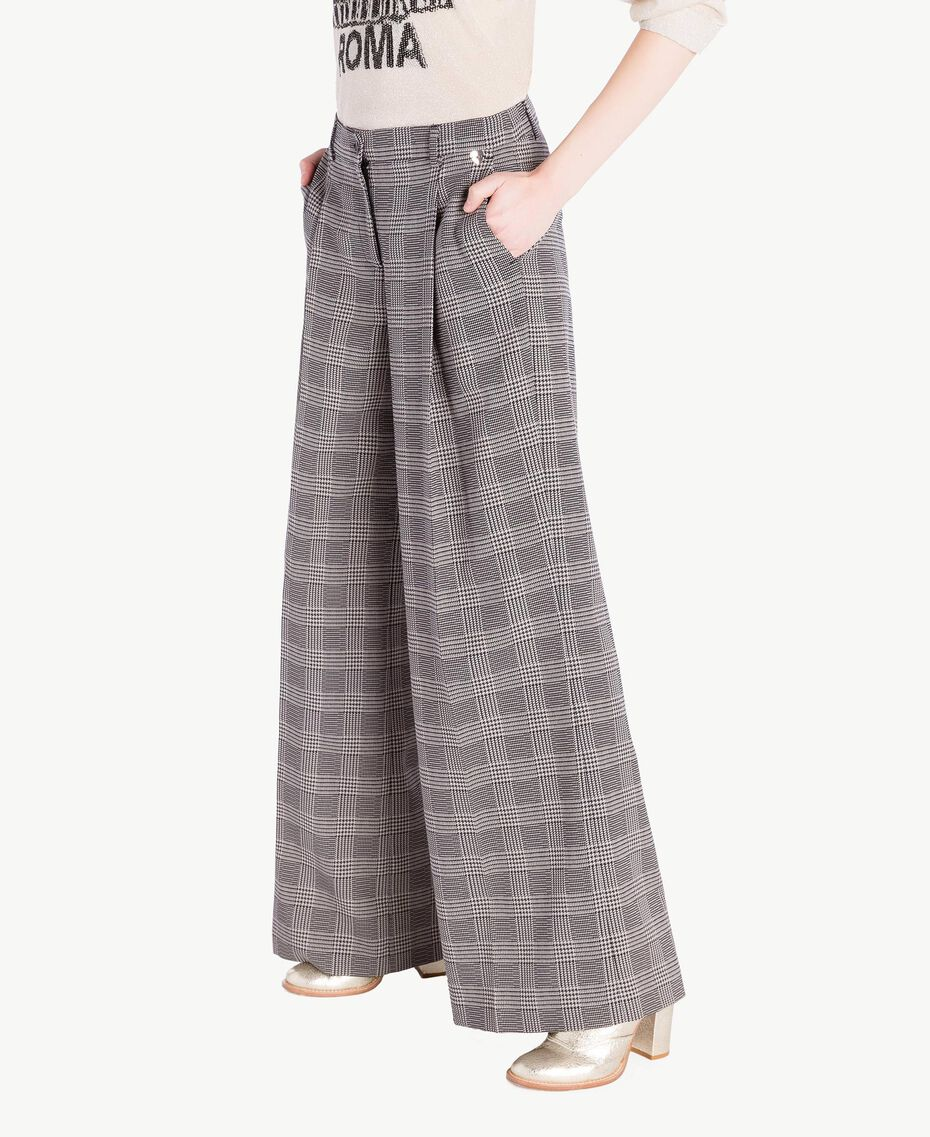 Pantalon palazzo carreaux Jacquard Vichy Femme PS827Q-02