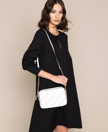 """Openwork faux leather shoulder bag """"Ice"""" White Woman 201MO8013-0S"""