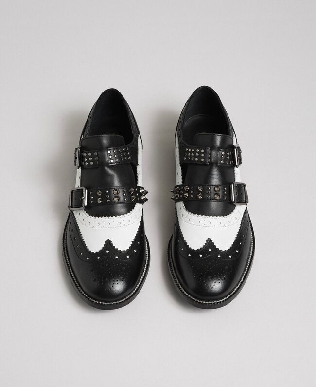 Leather shoes with tie up laces and studded straps Optical White / Black Woman 192TCP10U-05