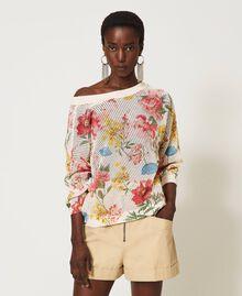 Floral print cardigan-jumper Meadow Flower Print Woman 211TT3141-05