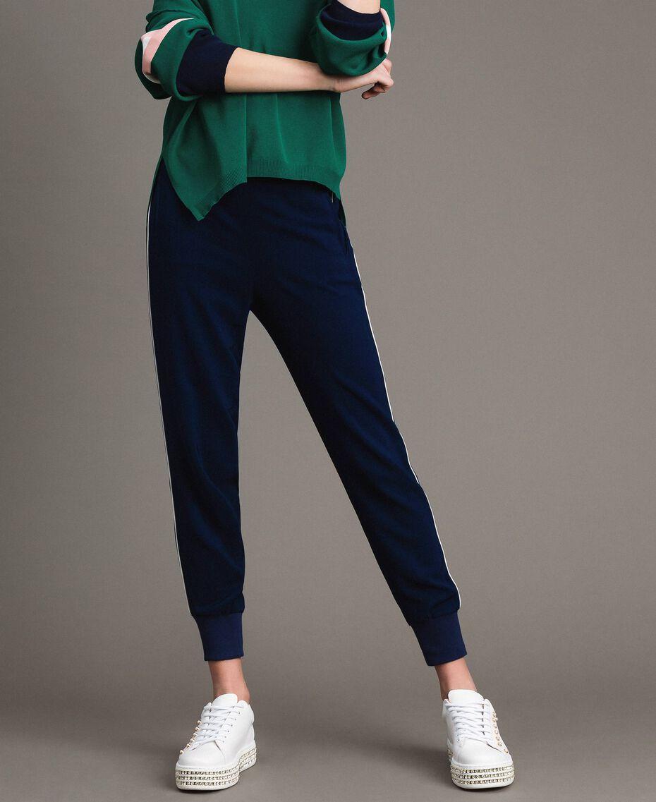 Pantalon de jogging en georgette Midnight Bleu Femme 191TP2326-02