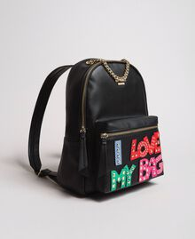 Faux leather backpack with patch and studs Black Woman 191MA7073-02
