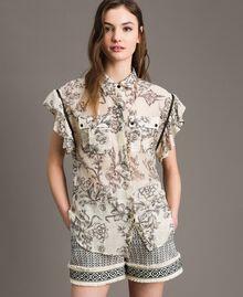 Hemd aus Seidenmischung mit Print Motiv Toile De Jouy Schwarz Frau 191TT2403-01