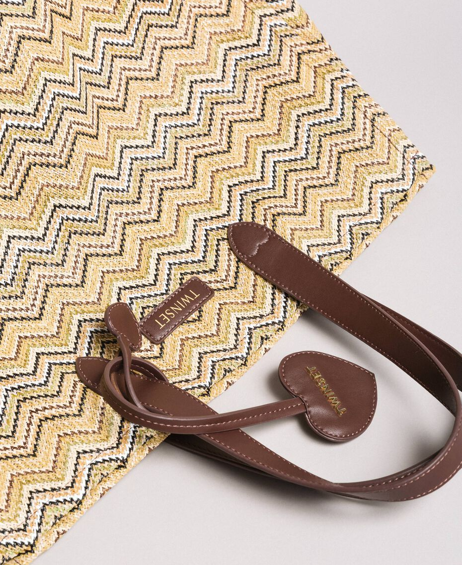 """Oversized straw-effect shopping bag Multicolour """"Milkyway"""" Beige / """"Petra Sandstone"""" Brown / Ivory Woman 191LM4ZCC-02"""