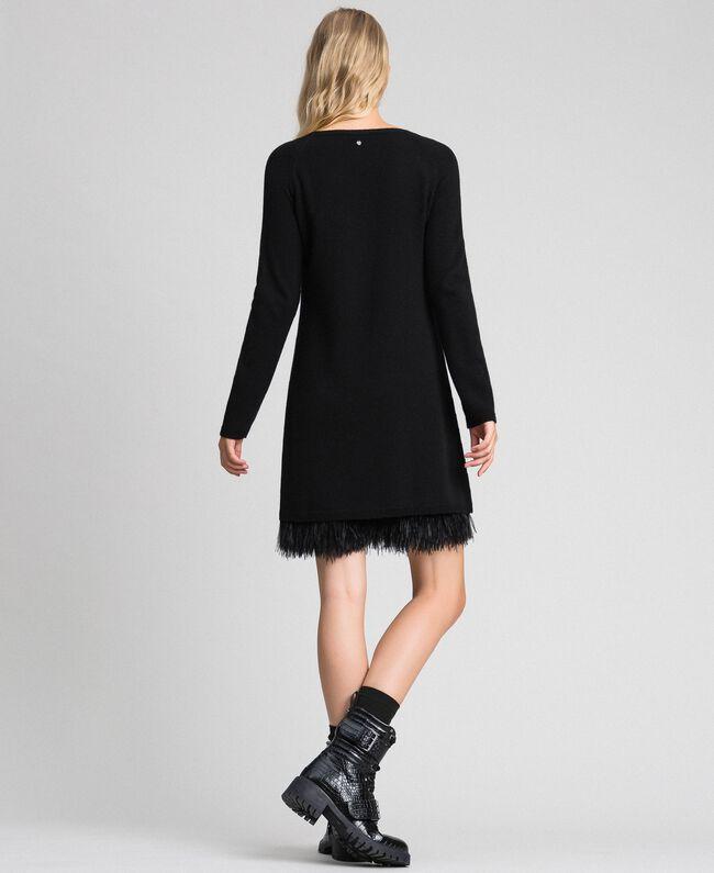 Robe en cachemire mélangé avec fond de robe Noir Femme 192TT3320-04