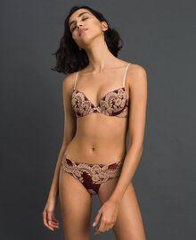 Soutien-gorge push-up en dentelle bicolore Rouge Violet / Beige Foncé Femme 192LL6D44-01