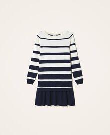 Трикотажное платье в полоску Полосатый Синий космос / Белый Сахар женщина 202ST3012-0S