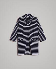 Ungefütterter Mantel mit Streifen Streifen Cremeweiß / Blue Shadow Frau 191ST2030-0S
