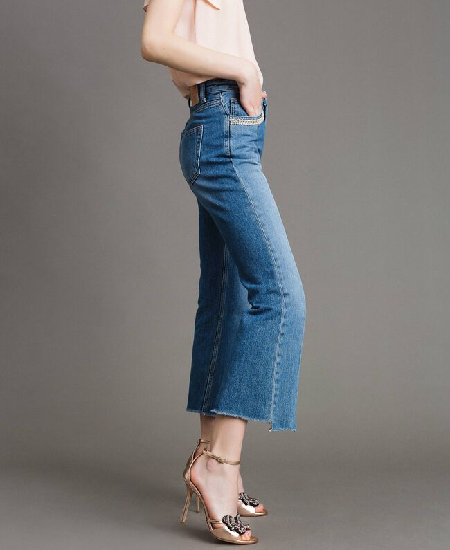 Bell bottom jeans with contrasting inserts Medium Blue Denim Woman 191TP2533-03
