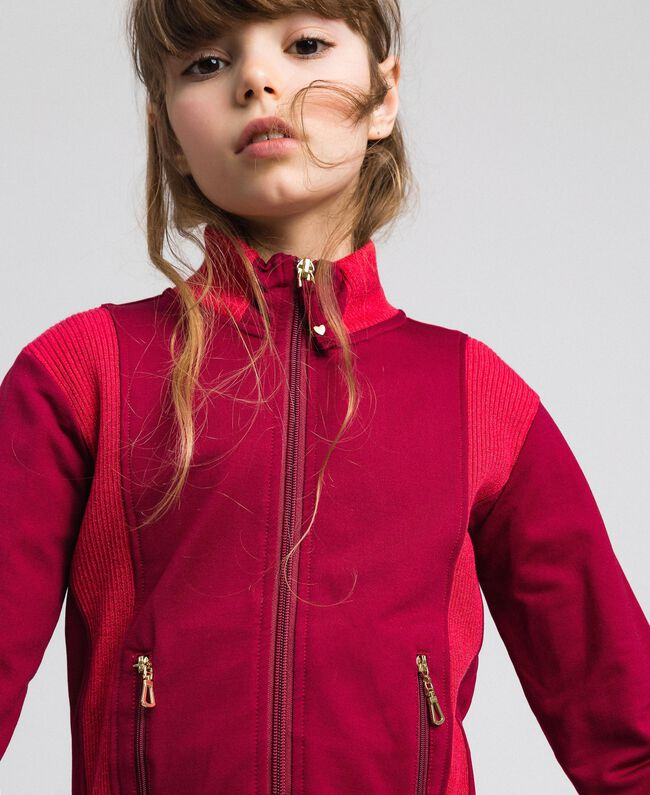 "Colour block sweatshirt with zip and jogging trousers Ruby Wine / ""Candy"" Fuchsia Child 192GJ2240-04"