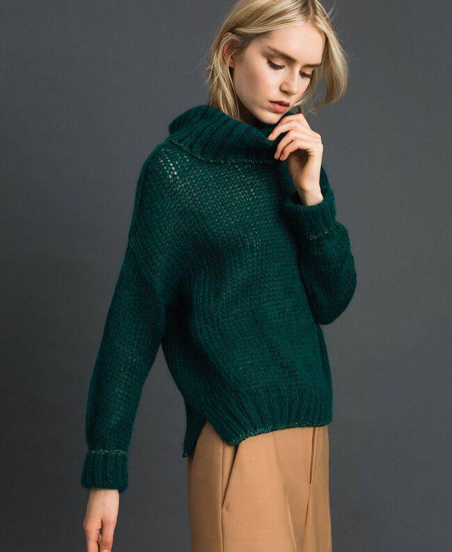 Mohair jumper with lurex stripes Dark Green Woman 192TP3292-03