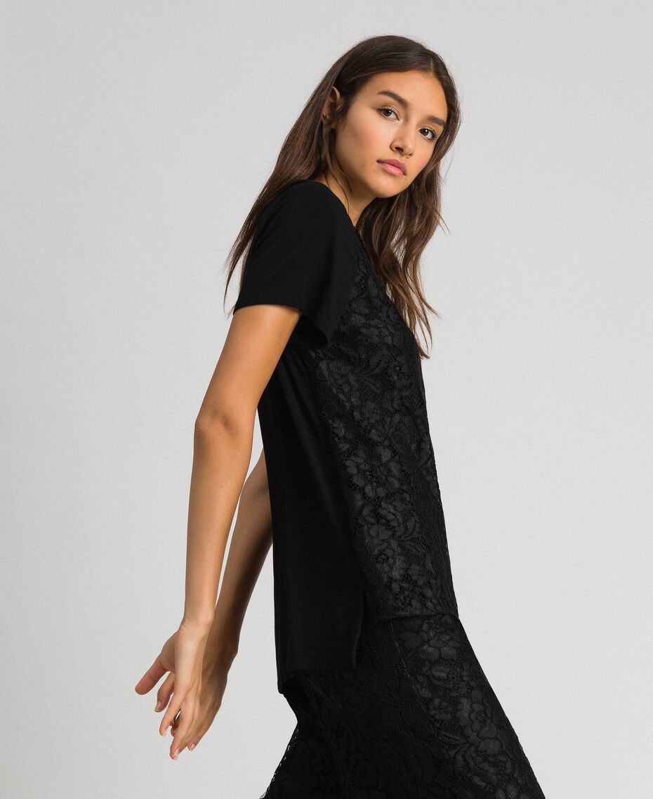 Macramé lace inlay blouse Black Woman 192MP2492-02