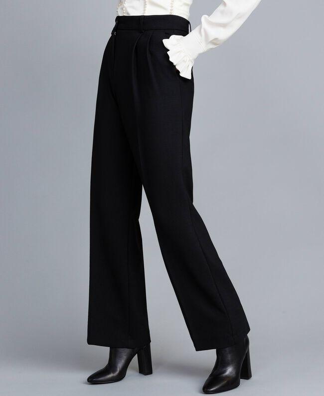 Pantalón palazzo de lana bielástica Negro Mujer TA8272-01