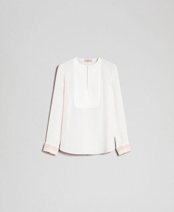 Blouse with pearl embroidery