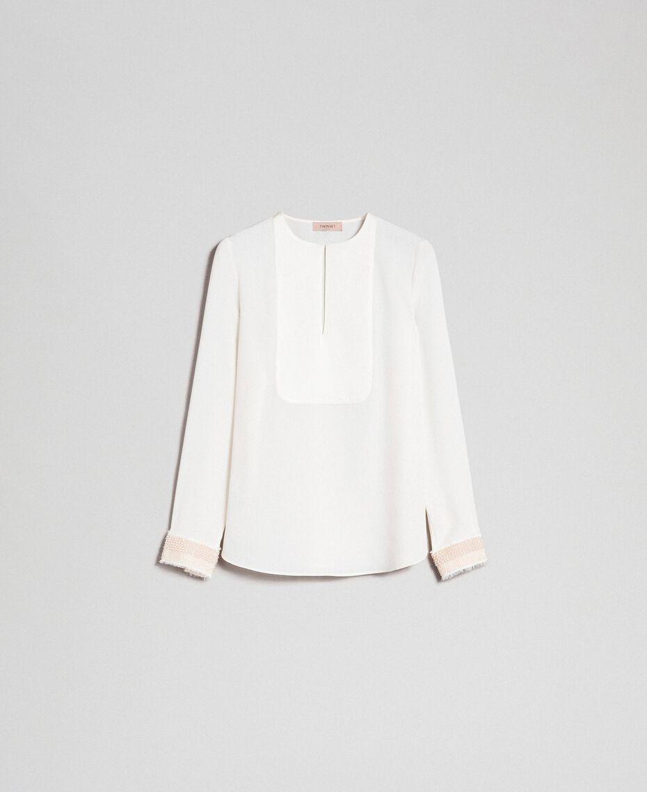 Blusa con ricami di perle Bianco Neve Donna 192TT2320-0S