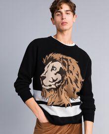 Wool blend oversized jumper Black Man UA83H2-01