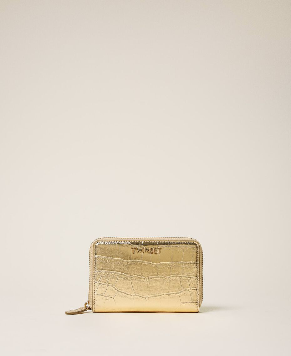 Crocodile print wallet Pale Gold Croc Print Woman 202TD8258-02
