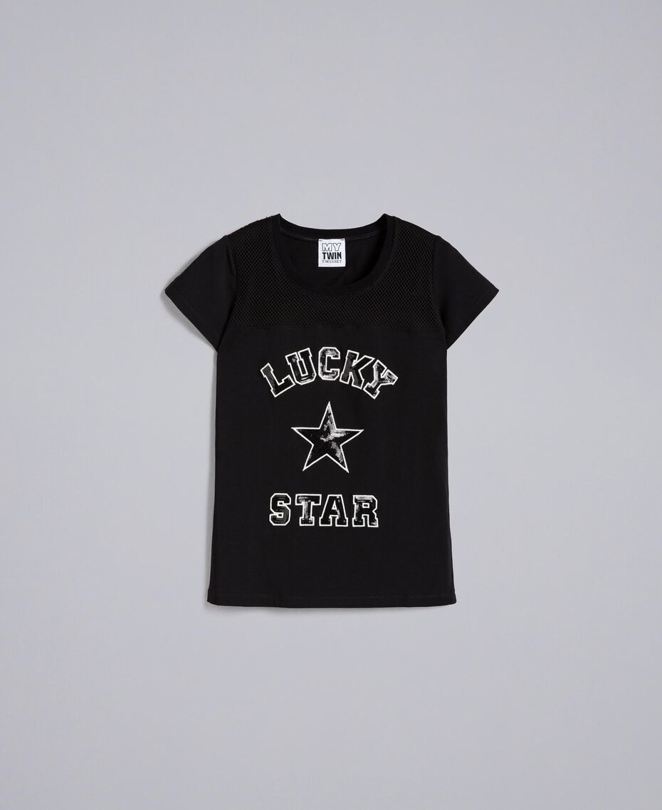 Sequin jersey t-shirt Black Woman JA82MT-0S