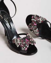 Leather sandals with jewelry butterfly Black Woman 191TCP104-05
