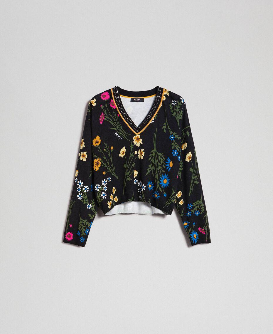 Cropped-Pullover mit Print und Lurex am Ausschnitt Motiv Schwarze Blumen Frau 192MP3231-0S