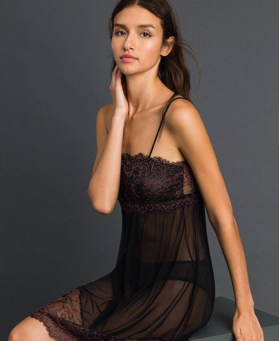 Robe nuisette en tulle et dentelle Noir / Rose «Dolly» Femme 192LI24YY-02