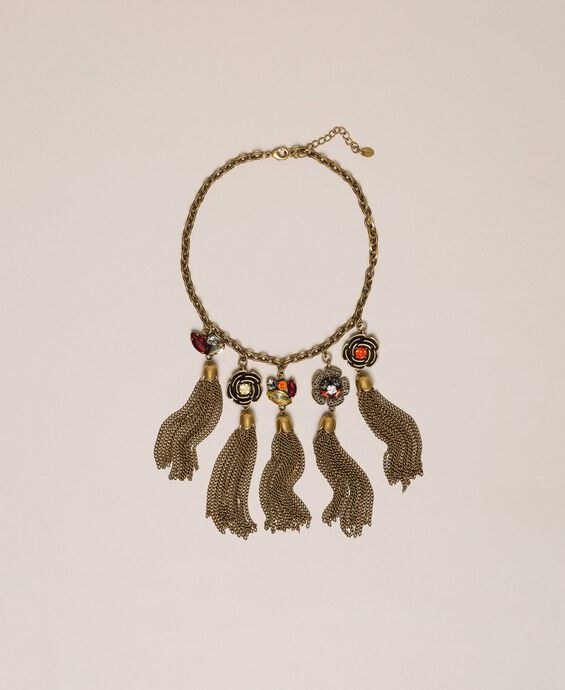 Necklace with floral pendants and tassels