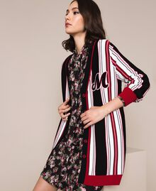 Maxi cardigan rayé Multicolore Vanille / Noir / Rouge «Vénitien» Femme 201MP3050-05