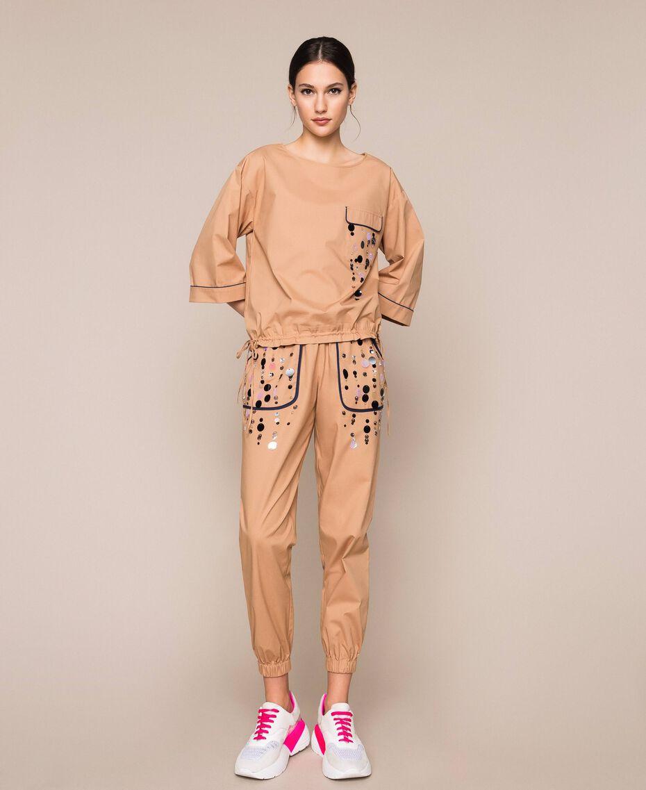 Поплиновые брюки-джоггеры с вышивкой Зеленый Вяз женщина 201ST2026-01