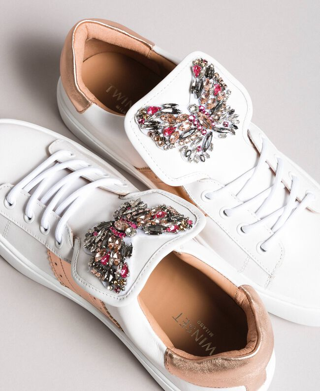 Leather sneakers with butterfly patches White Woman 191TCP10J-03