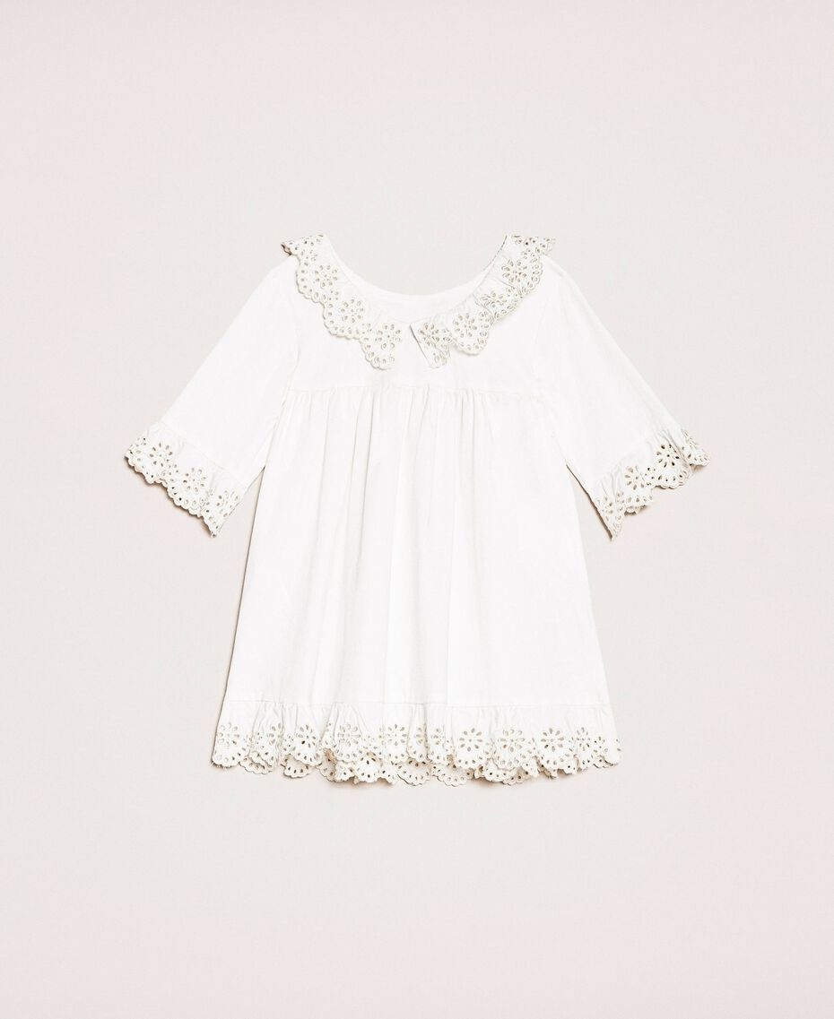 "Poplin dress with broderie anglaise Two-tone ""Papyrus"" White / Chantilly Child 201GB2150-0S"