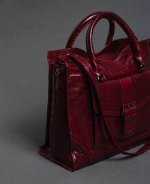Sac cabas en cuir effet craquelé Rouge Betterave Femme 192TA7235-01