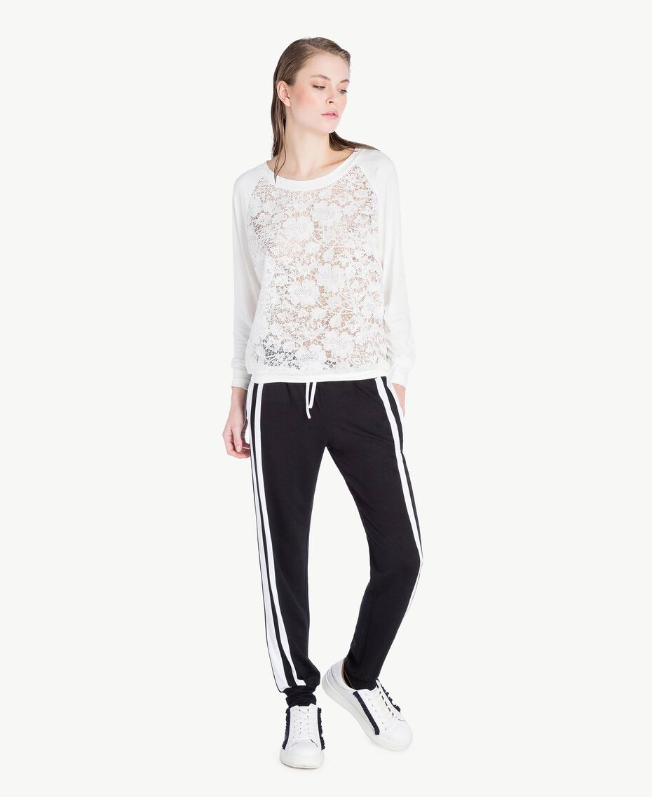 Lace sweatshirt White Woman LS89DD-02