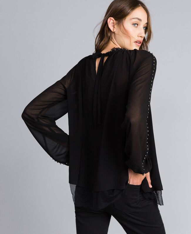 Ruched blouse with pearls Black Woman JA82MB-03