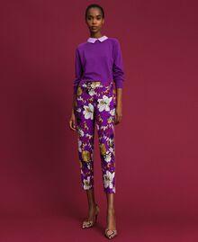 Pantalon cigarette avec imprimé floral Imprimé Fleurs d'Automne Violet Femme 192ST2224-03