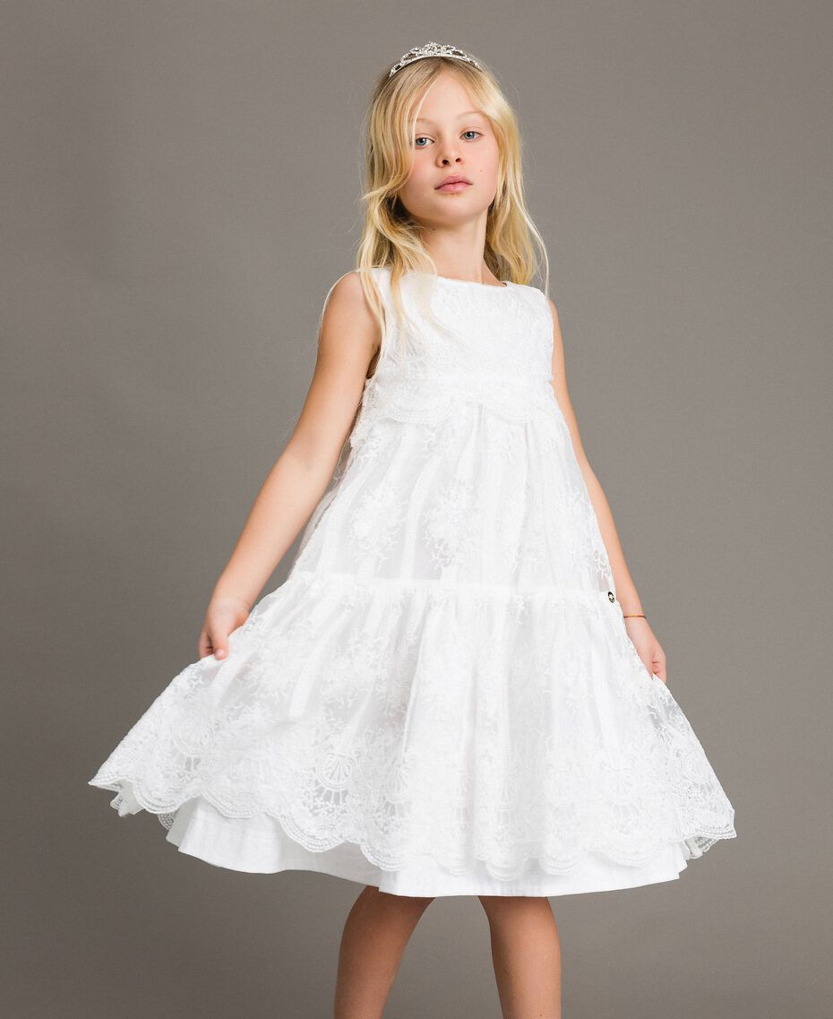 Embroidered organza and lace dress White Child 191GJ2QB1-0S