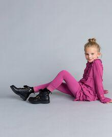 Legging en jersey avec dentelle Rose Bouganville Enfant GCN2F4-01