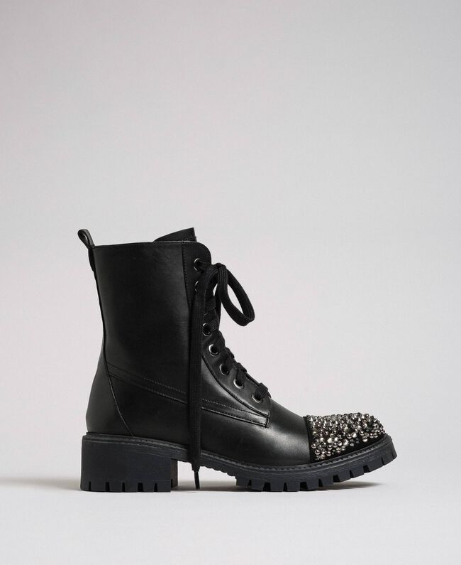 Leather combat boots with full rhinestone toe Black Woman 192TCP01J-04