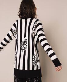 Maxi cardigan imprimé avec fentes Imprimé Fleur sur Rayé Neige / Noir Femme 201TP3261-03