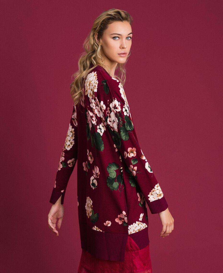 Maxi cardigan imprimé Imprimé Rouge Betterave Géranium Femme 192TP3363-02