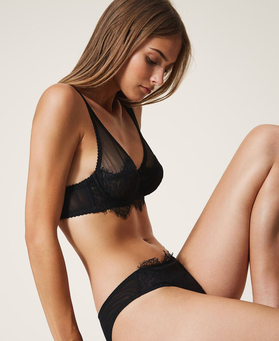 Lace and tulle briefs Black Woman 202LI6166-02